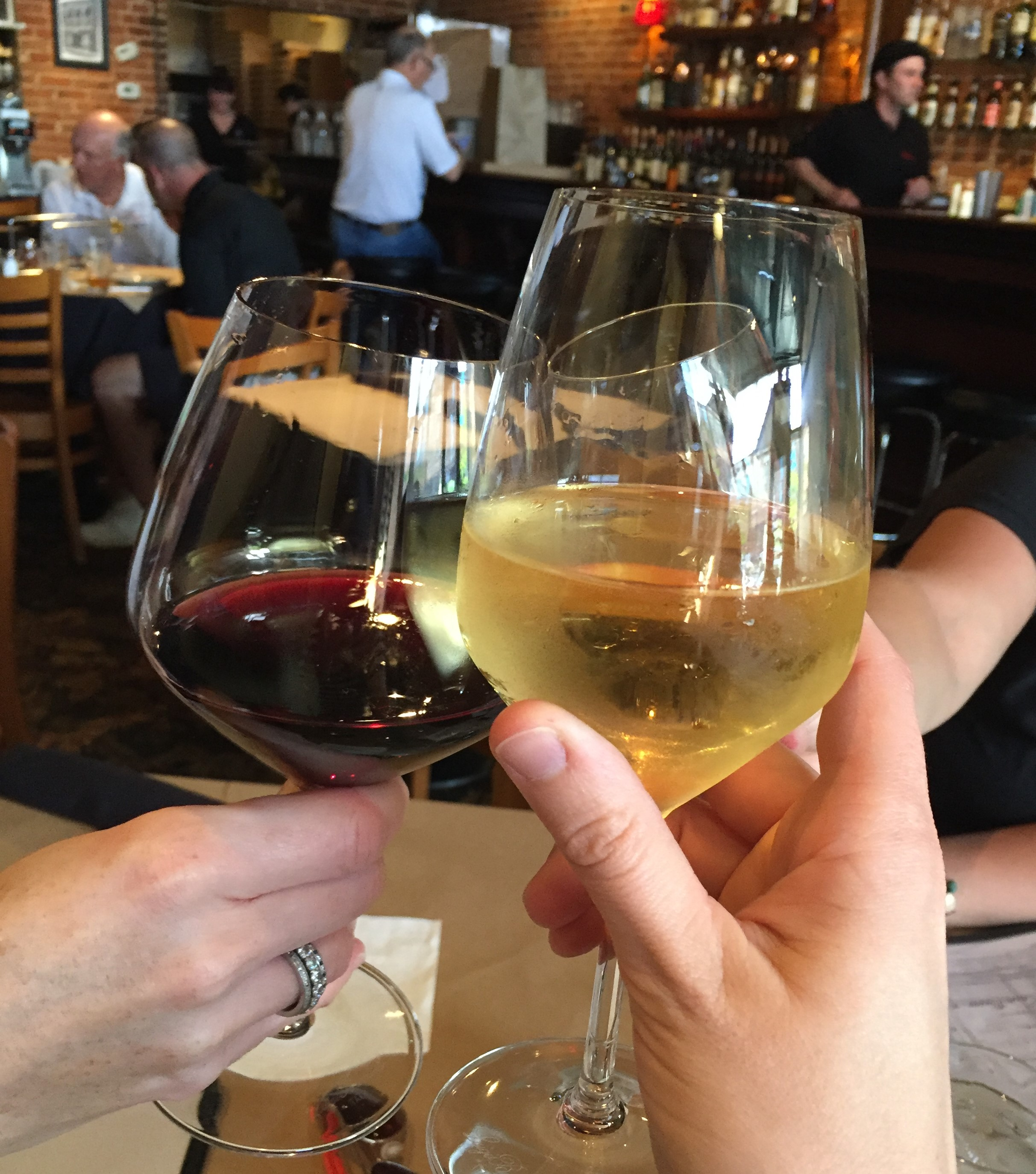Picture of a wine glass toast at Cannova's Pizzeria